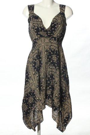 Apricot Robe d'été noir-blanc cassé imprimé allover style décontracté