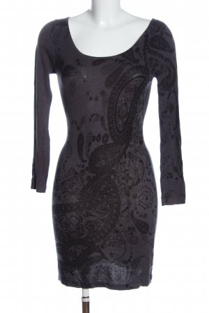 Apricot Abito di maglia nero-grigio chiaro stampa integrale stile casual