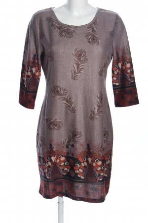 Apricot Knitted Dress brown-light orange allover print business style