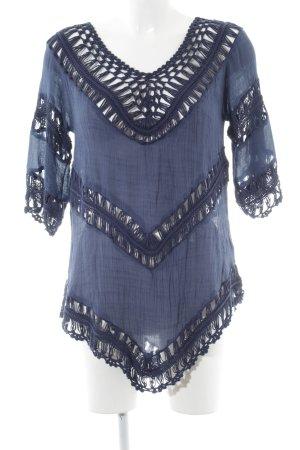 Apricot Tunique-blouse bleu torsades style décontracté