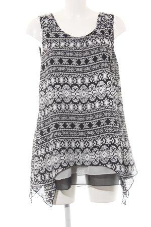 Apricot Tunikakleid weiß-schwarz abstraktes Muster 80ies-Stil