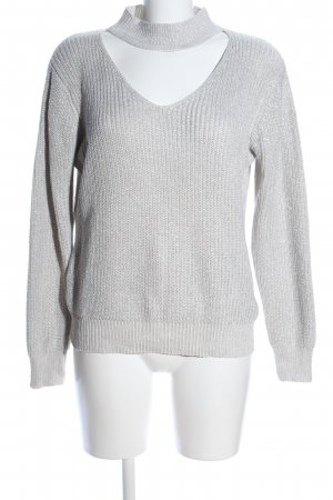 Apricot V-Neck Sweater light grey cable stitch casual look