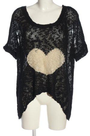 Apricot Jersey trenzado negro-crema estampado temático look casual