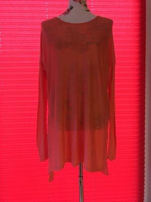 H&M Pull long orange-orange fluo tissu mixte