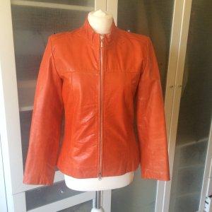 Apriori Leather Jacket neon orange leather