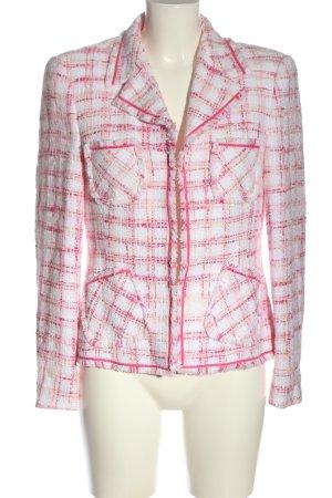 Apriori Korte blazer roze-wit geruite print casual uitstraling