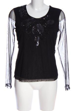 Apriori Langarm-Bluse schwarz grafisches Muster Elegant