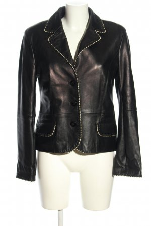 Apriori Leder-Blazer schwarz-weiß Casual-Look