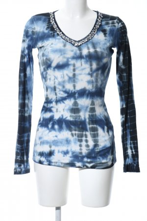 Apriori Longesleeve blauw-wit abstract patroon casual uitstraling