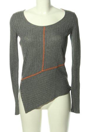 Apriori Kraagloze sweater lichtgrijs-licht Oranje gestippeld casual uitstraling