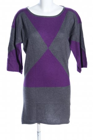 Apriori Strickkleid lila-hellgrau grafisches Muster Business-Look