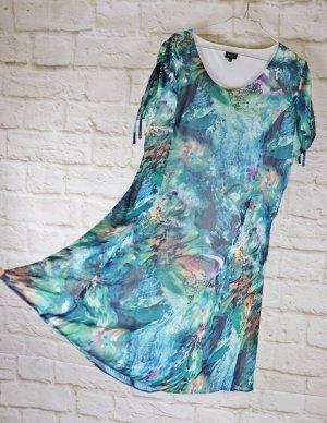 Aqua Sommerkleid Kleid Midi Bexleys Größe 44 Grün Blau Petrol Chiffon Strandkleid Kurzarm