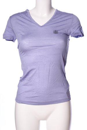 Aquascutum T-shirt col en V violet imprimé avec thème style décontracté