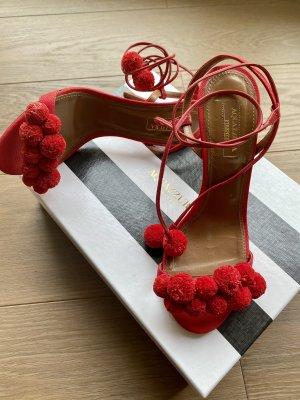 Aquazzura Sandały na obcasie z rzemykami czerwony