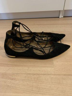 Aquazzura Ballerina's met kant zwart