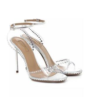 AQUAZZURA Neu Dream 105 embellished PVC sandals 41,5 High Heels Sandalen Silber