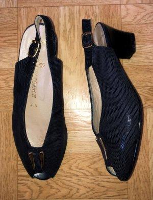 ara Peep Toe Pumps dark blue-blue leather