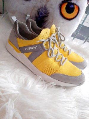 ara Basket à lacet gris clair-jaune