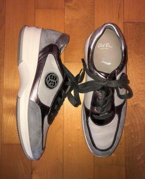 ARA Sneaker Leder Montreal taupe grau 38,5 Neu 120 Euro