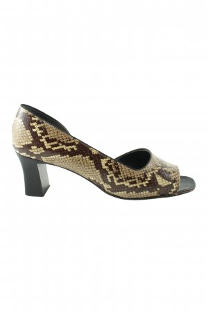 ara High-Heeled Toe-Post Sandals gold-colored-brown animal pattern casual look