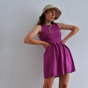 archived fairy american apparel minikleid / 90s vintage kidcore strickkleid magenta