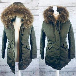 Arctic Parka Wintermantel Fell Pelz | 38 M | grün dunkelgrün khaki | wie NEU