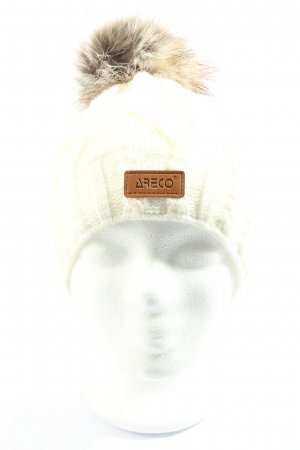 ARECO Knitted Hat cream cable stitch casual look