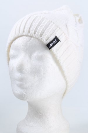 ARECO Knitted Hat natural white cable stitch casual look