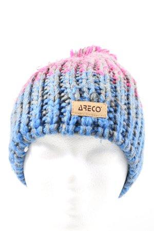 ARECO Cappello a punta blu-rosa punto treccia stile casual