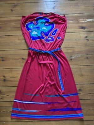 ari: Midikleid Vintage, Blumenmotiv, fuchsia, pink, blau, türkis, lila, Gr. S/36, ärmellos, Stoffgürtel