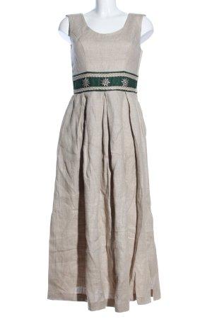 Arido Trägerkleid wollweiß-khaki Motivdruck klassischer Stil