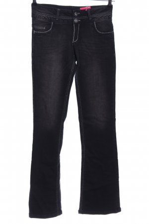 Arizona Boot Cut Jeans schwarz Schriftzug gedruckt Casual-Look
