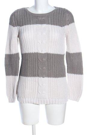 Arizona Pull à gosses mailles gris clair-blanc motif rayé style décontracté