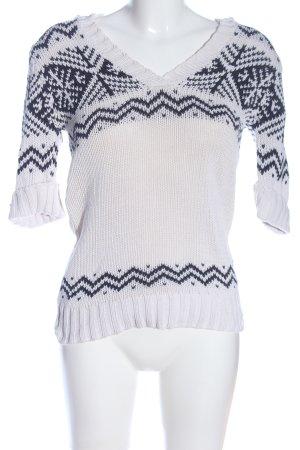 Arizona Kurzarmpullover weiß-schwarz Casual-Look