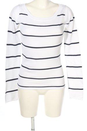 Arizona Rundhalspullover weiß-schwarz Streifenmuster Casual-Look
