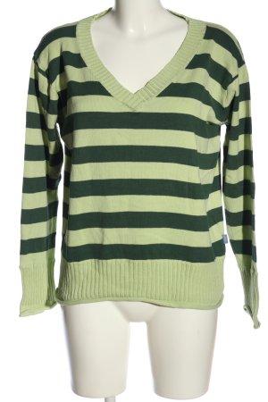 Arizona V-Ausschnitt-Pullover grün-schwarz Streifenmuster Casual-Look