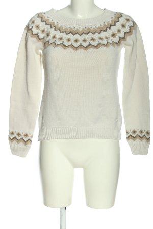 Arizona Warkoczowy sweter w kolorze białej wełny-brązowy Graficzny wzór