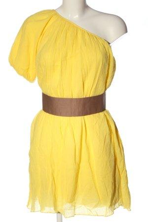 Ark & Co One-Shoulder-Kleid blassgelb-braun Casual-Look