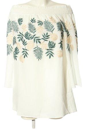 Ark & Co schulterfreies Kleid wollweiß-grün Blumenmuster Casual-Look