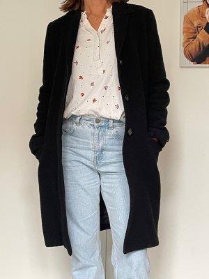 ARKET Wełniany płaszcz czarny Wełna