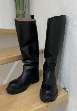 ARKET Kniehohe Leder Stiefel schwarz 36