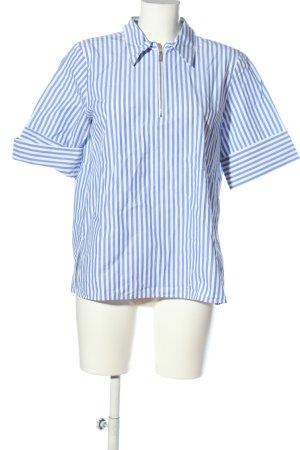 ARKET Bluzka z krótkim rękawem biały-niebieski Wzór w paski W stylu casual