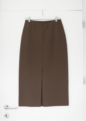 Arket Midi Rock Pencil Skirt mit Schlitz Khaki Olive Gr. S Stretch
