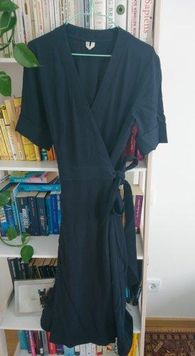 Arket Midi Wrap Dress Navy XS 34 36