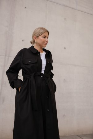 ARKET Wollmantel schwarz Business-Look