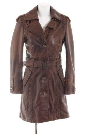 Arma Collection Manteau en cuir brun style décontracté