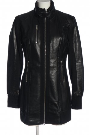 Arma Collection Cappotto in pelle nero stile casual