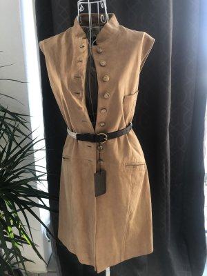 Arma  Echtleder Jacke Mantel Kleid camel sand beige nude 44 L One Size Jades