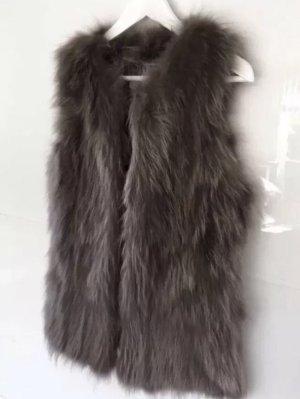 Arma Collection Gilet en fourrure brun foncé-gris brun