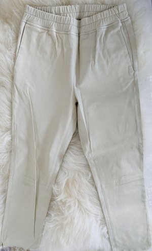 ARMA Pantalon en cuir blanc cassé
